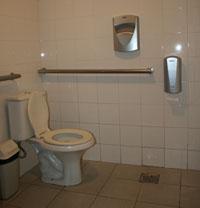 Banheiro adaptado da sala 1 - bastante espaço e barras de apoio