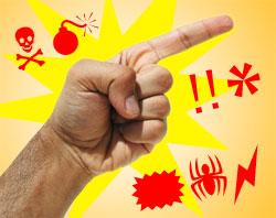 Dedo em riste e símbolos de xingamento