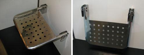 Banco articulado aberto (à esquerda) e dobrado (à direita)