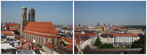 Vista da torre da Neues Rathaus. A passarela circunda toda torre e oferece vista para todos os lados da cidade.