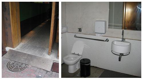 Rampa na entrada e banheiro adaptado do Restaurante Market Ipanema