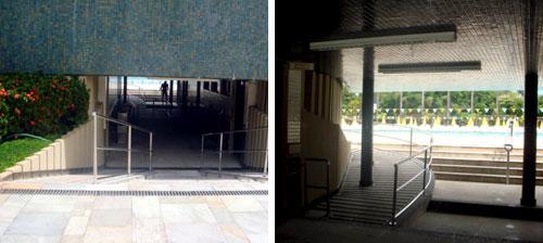 Rampas de acesso à piscina olímpica