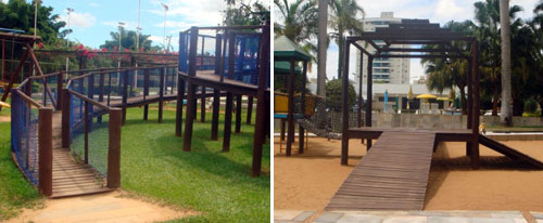 Brinquedos com rampas no parque infantil