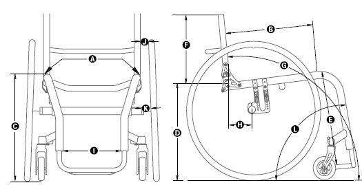 Diagrama de medidas de cadeira de rodas