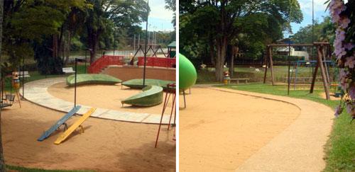 Vias alfaltadas no parque infantil