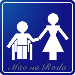 Símbolo de um cadeirante dando a mão a uma mulher