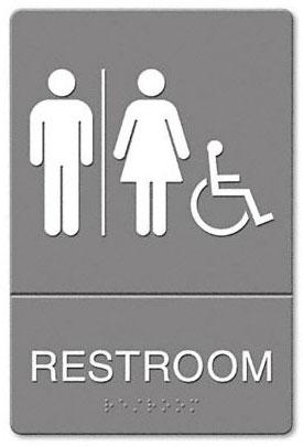 Sinalização de banheiro unissex, com cadeira de rodas ao lado da mulher