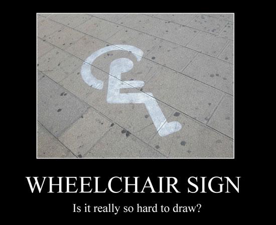 Símbolo universal de acesso mal desenhado - a roda está na cabeça do cadeirante