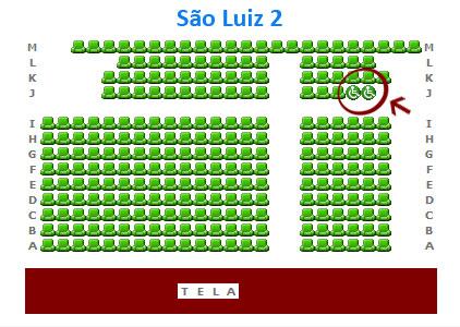 Mapa da Sala 2 do São Luiz - local reservado para cadeira de rodas na fila J