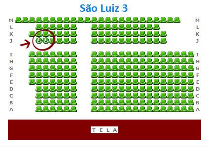 Mapa da Sala 3 do São Luiz - local reservado para cadeira de rodas na fila J