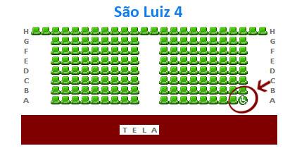Mapa da Sala 4 do São Luiz - local reservado para cadeira de rodas na primeira fila