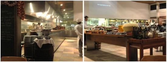 foto do buffet de frios e saladas e balcão de massas