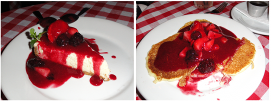 cheesecake de frutas vermelhas e panquecas